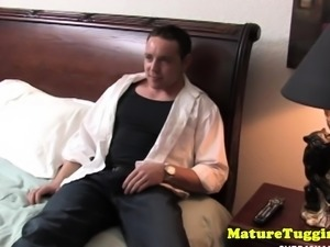 Glamorous cougar wanking dick in POV