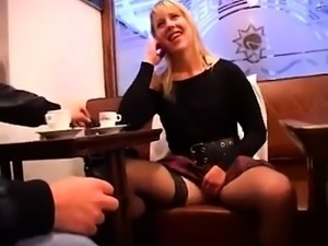 Sexy blonde wife in stockings has two guys sharing her holes