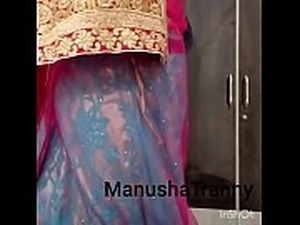 Remove my saree - B&#039_day girl Manusha Tranny in traditional attire and...