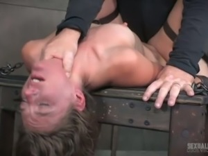 Tied up and handcuffed slut with light hair is brutally banged missionary
