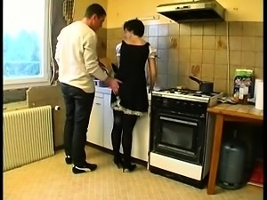 Slutty maid does both the cooking and the cocksucking