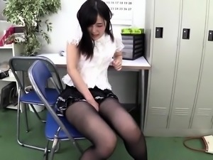 Sensual Asian chick in pantyhose is in need of a hard cock