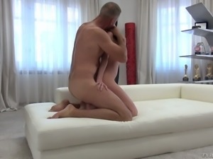 Rocco grabs Cassie C's hair while drilling her anus doggy extremely hard