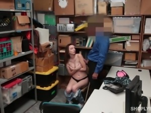 Caught suspect is made to flash her natural tits and sexy rack