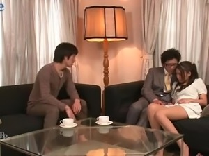 Lewd hubby and his friend undress kinky wife Aoi Miyama and fuck her well