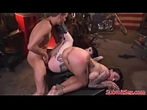 Inked subs drilled hard in ass and pussy