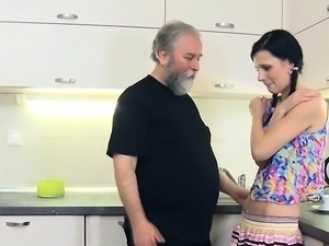 Appealing young seductress sucks and rides old cock