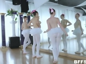 Wonderful girls in cute white tutus are ready to suck ballet dancer's dick