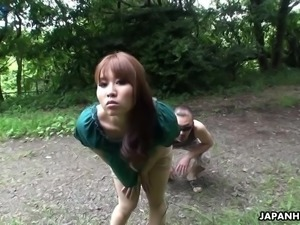 Caught by pervert Eri Makino gets her meaty cunt fucked mish outdoors