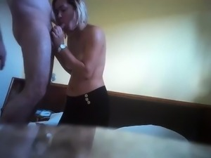 Exciting blonde sucks and fucks a hard cock with passion