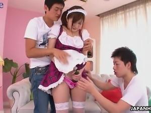 Kawaii looking Japanese maid Hikaru Ayami finds FMM threesome super hot