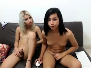 Blonde and brunette webcam shemales enjoying hot anal sex