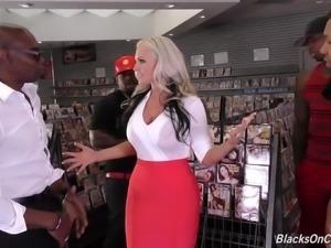 Giant breasted auburn MILF Alena Croft enjoys interracial gangbang