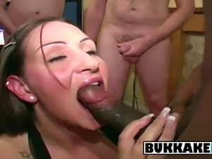 Hot brunette makes all the guys cum