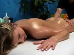 Teen blond chick plays with chubby stiff piece of meat