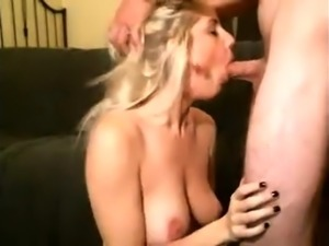 Horny blonde milf two big black cocks double penetration