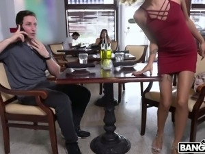 Curly Latina hottie Xianna Hill gives blowjob to waiter in the toilet