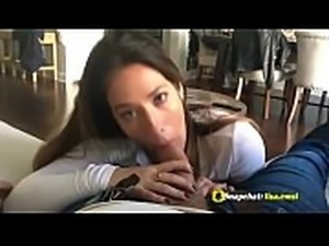 Hot brunete cumshot on her face big tits