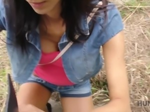 Svelte sporty girl gets fucked doggy in front of her cuckold BF outdoors