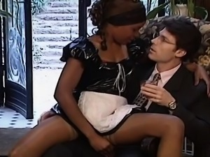 Ebony maid gets white cock up her ass