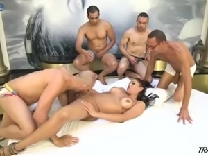 Ardent shemale Tamarah Camargo gets gangbanged rather hard by studs