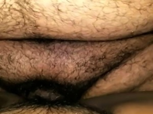 Hairy ebony masturbates and sucks big black cock