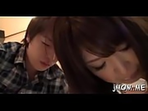Kinky japanese older licks her lover all over his body