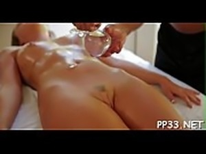 Ravishing playgirl gets a sensual massage before doggystyle sex