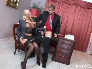 Hungarian blonde office slut Helena Sweet gets analfucked after meeting