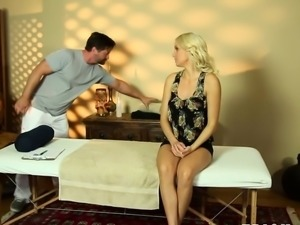 Massaged busty blonde