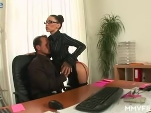 Office slut Valentina is ready to get both her holes hammered hard