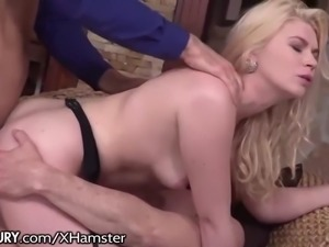 open house turns to dp threesome for natural blonde