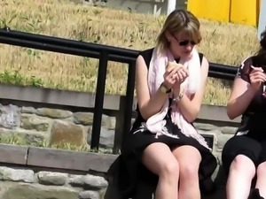 Street voyeur finds a beautiful amateur babe with hot legs