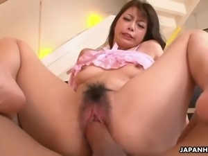 japanese thot maki hojo gets her muff dicked and creampied