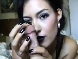 Sexy babe gives a handjob