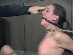 Tight tied up submissive whore Sierra Cirque gets her ass slapped really hard
