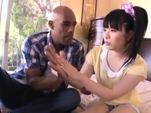 Adorable Japanese babe gets used by a gang of black studs