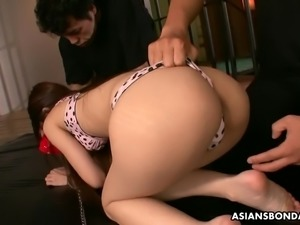 Caged slim submissive Japanese slut Yuzu Shiina gets fucked hard