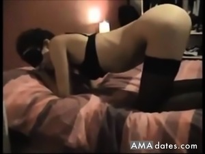 Wife in stockings ass fucked on real homemade