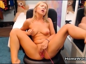 Horny Mom Squirting All Over Her Chair