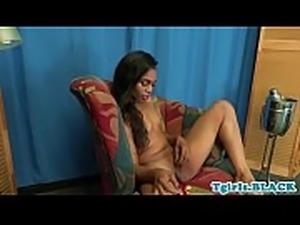 Tattooed nubian tgirl pleasing herself