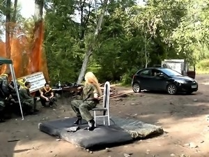 Bodacious Russian stripper shows off her sexy body in public