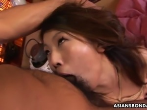 Oiled and bright looking nympho Aoi Wajo gets poked doggy after mouthfuck
