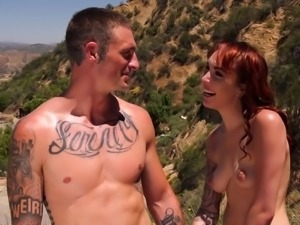 Bisexual hottie Emily Blacc goes nuts during outdoor bisexual 3some