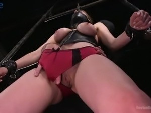 Hard tied obedient whore Stella Cox gets heavy sinkers pinned to her pussy