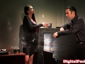 Busty office babe deepthroating after hours
