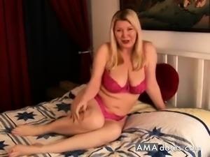 Beautiful blonde milf stimulates her clit in solo