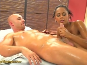 Lovely ebony masseuse Isabella gets fucked in spoon pose hard enough