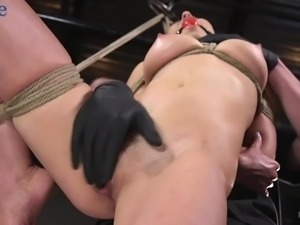 Gagged submissive whore Melissa Moore gets mouthfucked with a dildo