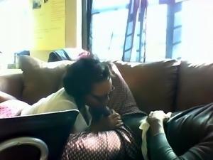 Nerdy ebony girl milks a big black cock with her sweet lips